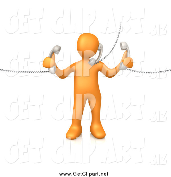 Clip Art of a 3d Orange Guy Handling Three Customer Service Lines and Multi Tasking at the Office