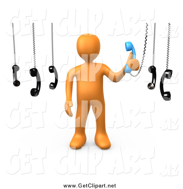 Clip Art of a 3d Orange Man Answering Multiple Calls