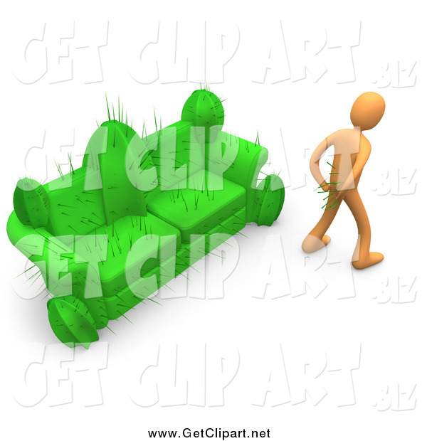 Clip Art of a 3d Orange Man in Pain, Trying to Pull Needles out of His Butt After Sitting on a Cactus Couch