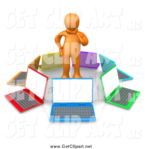 Clip Art of a 3d Orange Man in Thought, Surrounded by a Circle of Colorful Laptop Computers