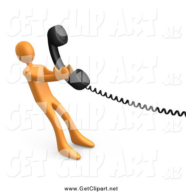 Clip Art of a 3d Orange Man Pulling a Landline Phone Receiver