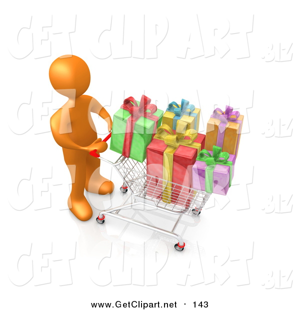 Clip Art of a 3d Orange Man Pushing a Shopping Cart Packed Full of Colorful Christmas Presents in a Store