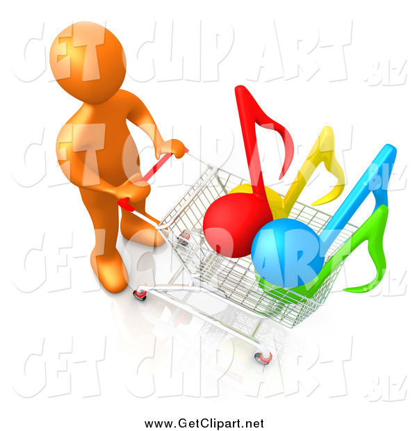 Clip Art of a 3d Orange Man Pushing a Shopping Cart with Music Notes in It