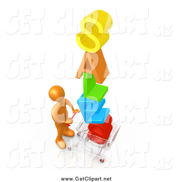 Clip Art of a 3d Orange Man Pushing a Shopping Cart with the Colorful Word SALES in the Cart, Getting Great Deals During a Store Promotion