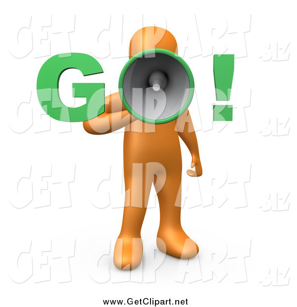 "Clip Art of a 3d Orange Man Screaming ""Go!"" Through a Loud Megaphone"