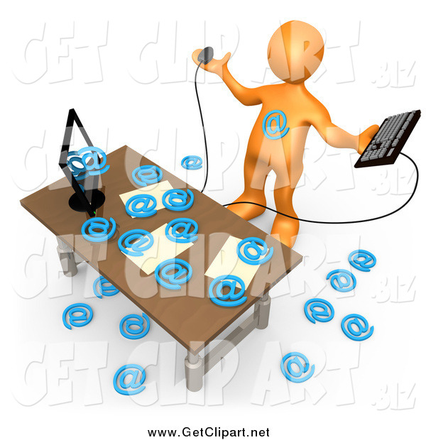 Clip Art of a 3d Orange Man Spammed with Emails