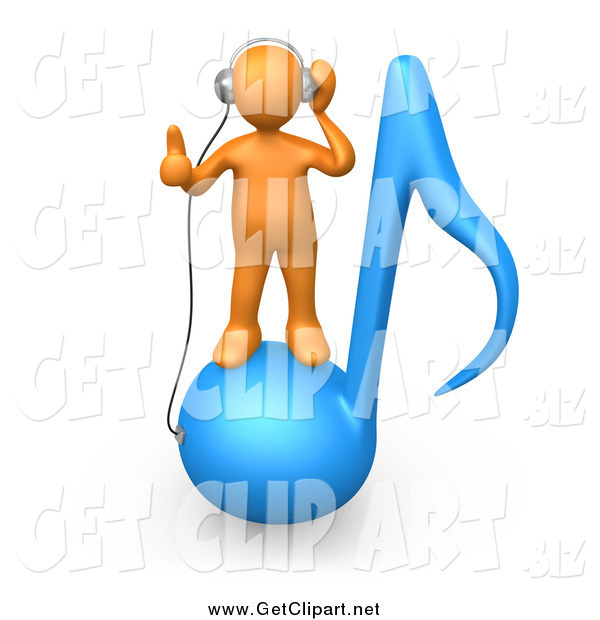 Clip Art of a 3d Orange Man Standing on a Blue Music Note and Wearing Headphones