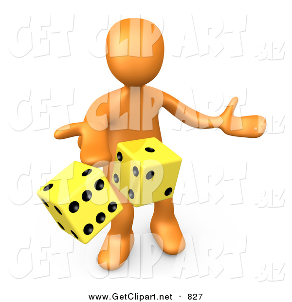 Clip Art of a 3d Orange Man Tossing up a Pair of Yellow Dice, Symbolizing Chance and Risk
