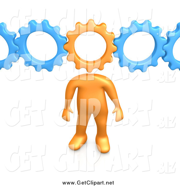 Clip Art of a 3d Orange Man with a Cog Head Connected to Blue Gears, Symbolizing Inventing and Creativity
