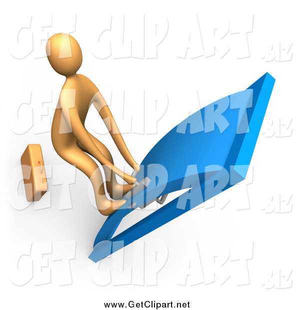 Clip Art of a 3d Orange Man with His Feet up on the Door, Yanking a Handle and Trying to Pass Through