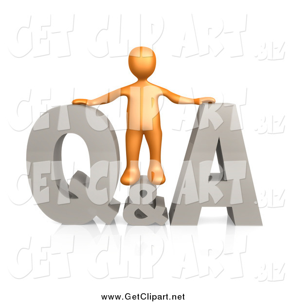 Clip Art of a 3d Orange Man with Questions and Answers
