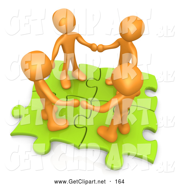 Clip Art of a 3d Orange People Holding Hands on Green Puzzle Pieces
