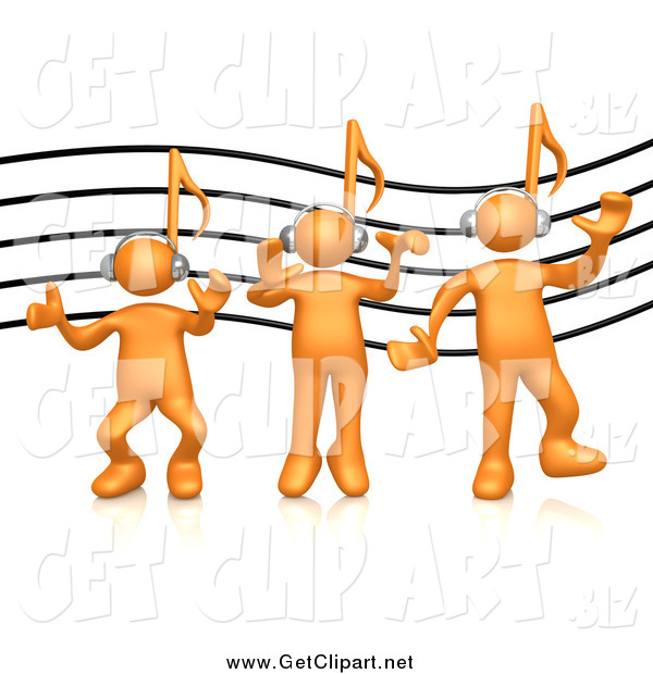 Clip Art of a 3d Orange People with Music Note Heads, over a Music Staff