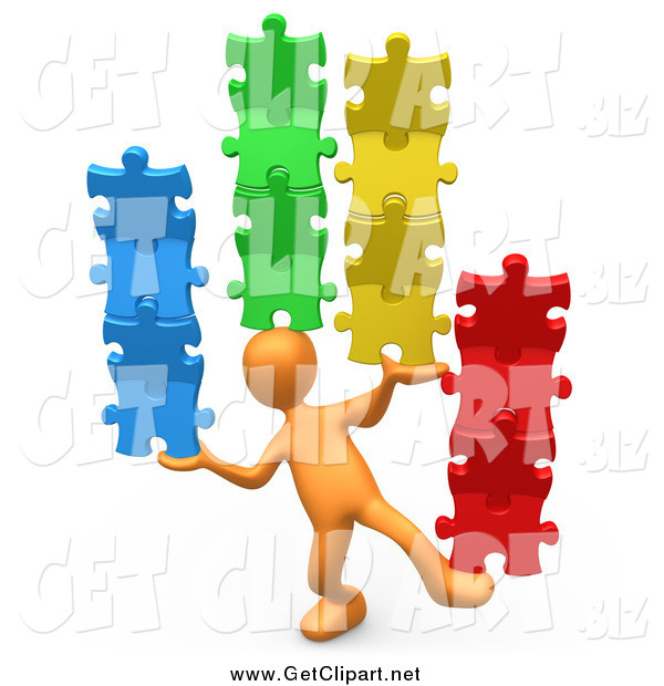 Clip Art of a 3d Orange Person Balancing Colorful Stacked Puzzle Pieces