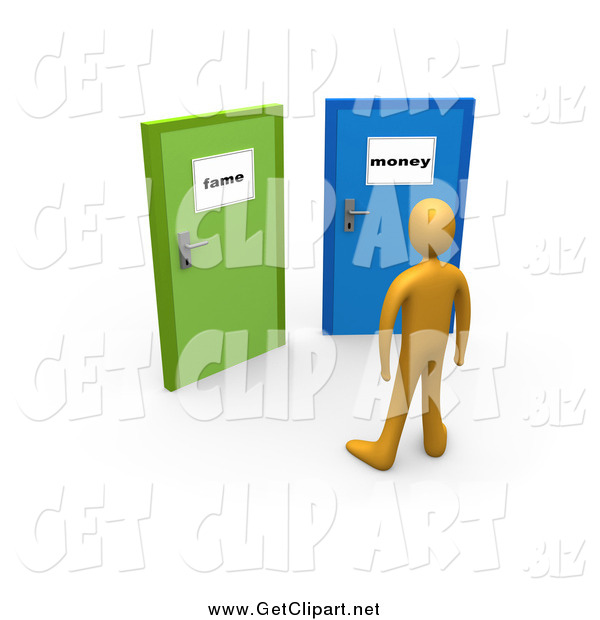Clip Art of a 3d Orange Person Before Two Closed Doors, One Leading to Fame, the Other Leading to Money