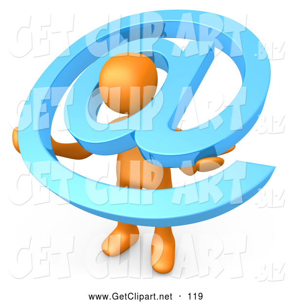 Clip Art of a 3d Orange Person Carrying a Large Blue Email Symbol