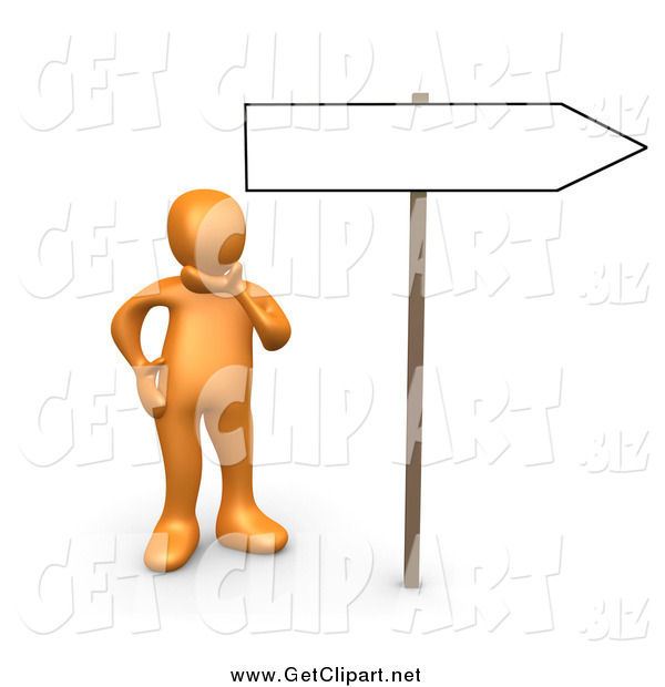 Clip Art of a 3d Orange Person Considering Changing His Direction in Life