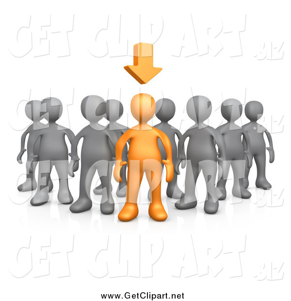 Clip Art of a 3d Orange Person Leading a Group of Gray People