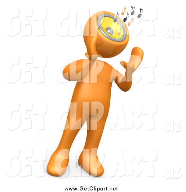 Clip Art of a 3d Orange Person wIth a Music Head