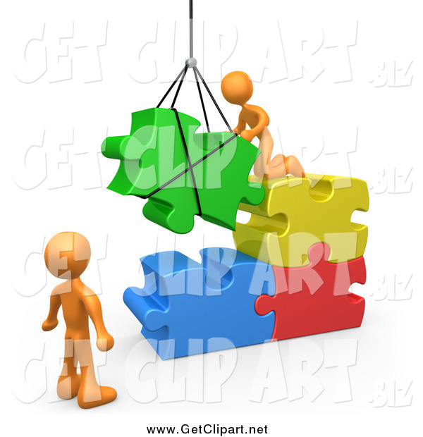 Clip Art of a 3d Orange Team Directing a Hoisted Puzzle Piece into a Space