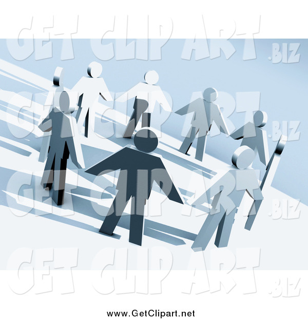 Clip Art of a 3d Paper People Holding Hands in a Circle on a Hillside
