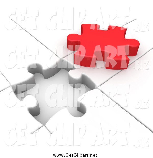 Clip Art of a 3d Red Piece over a White Jigsaw Puzzle
