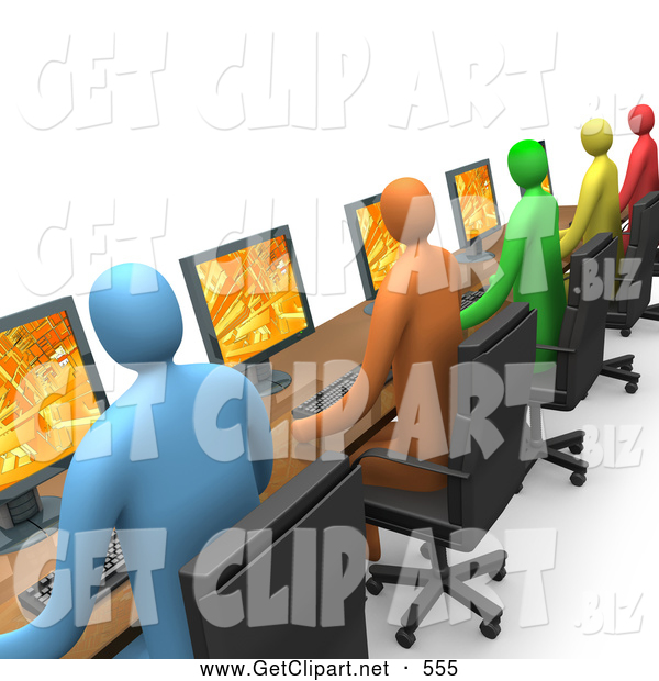 Clip Art of a 3d Row of Colorful Diverse Employees Working on Computers