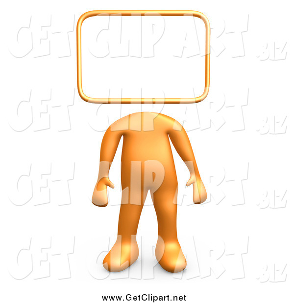 Clip Art of a 3d Sign Headed Orange Person
