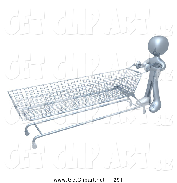 Clip Art of a 3d Silver Man Pushing a Very Long Shopping Cart in a Store