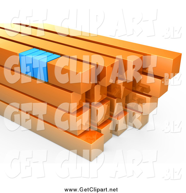 Clip Art of a 3d Stack of Orange and Blue Bars