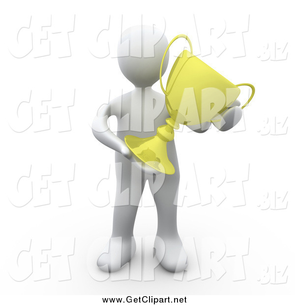 Clip Art of a 3d Successful White Man Holding a Golden Trophy After Winning the Championships