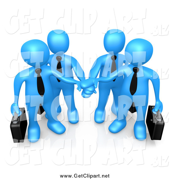 Clip Art of a 3d Team of Blue Business People Carrying Briefcases and Standing with Their Hands Piled