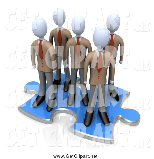Clip Art of a 3d Team of Businessmen Standing Together on a Blue Puzzle Piece