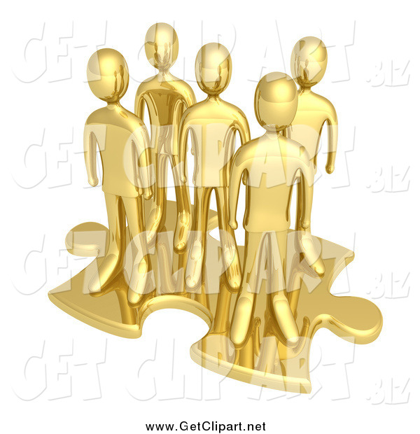 Clip Art of a 3d Team of Gold Men on a Giant Puzzle Piece