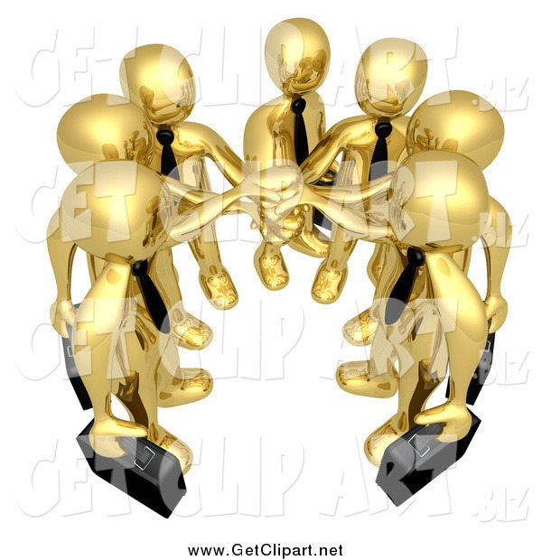 Clip Art of a 3d Team of Gold Men with Their Hands in
