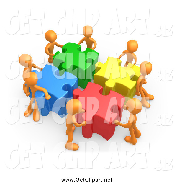 Clip Art of a 3d Team of Orange People Pushing Together Large Colorful Puzzle Pieces to Find a Solution