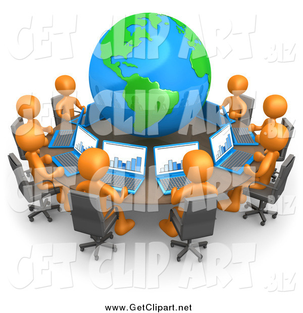 Clip Art of a 3d Team of Orange People Working on Laptops at a Round Table with a Globe in the Center