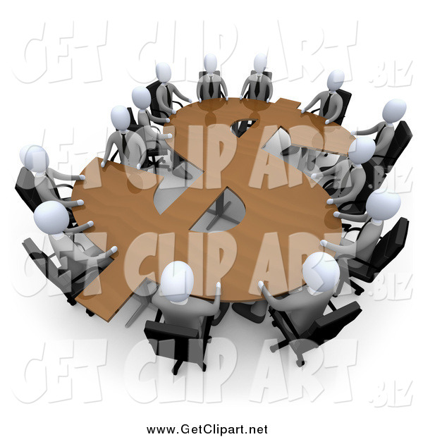 Clip Art of a 3d Team of White Business People in a Meeting Around a Wooden Dollar Shaped Table
