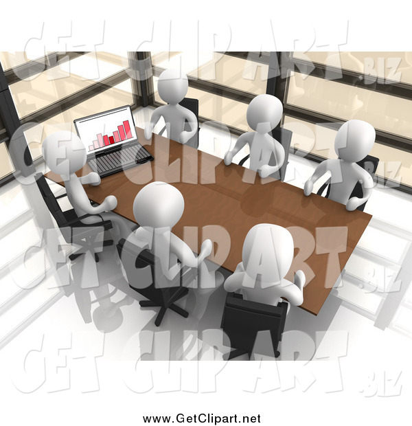 Clip Art of a 3d Team of White People Discussing Statistics at a Table