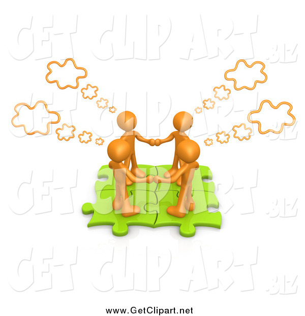 Clip Art of a 3d Team Work Orange People Holding Hands and Standing on Connected Green Puzzle Pieces