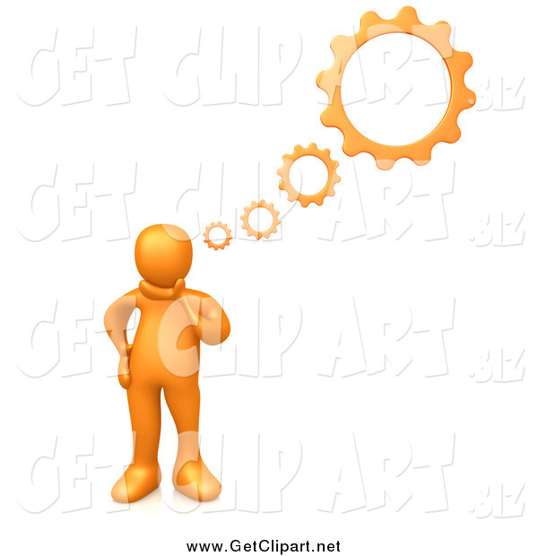 Clip Art of a 3d Thinking Orange Man with Gear Thoughts