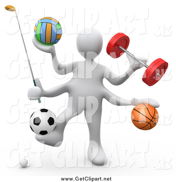 Clip Art of a 3d White Athlete with Gear