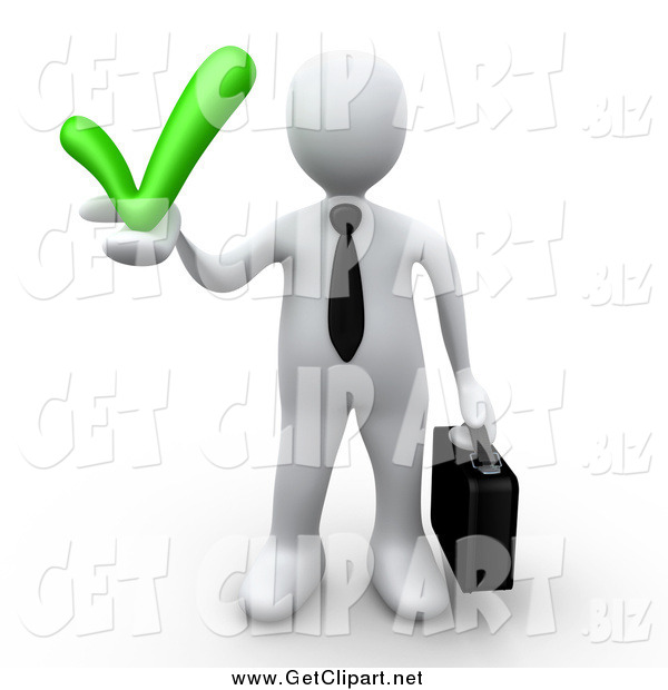 Clip Art of a 3d White Business Man Holding a Grey Check Mark, Symbolizing Approval and Solutions