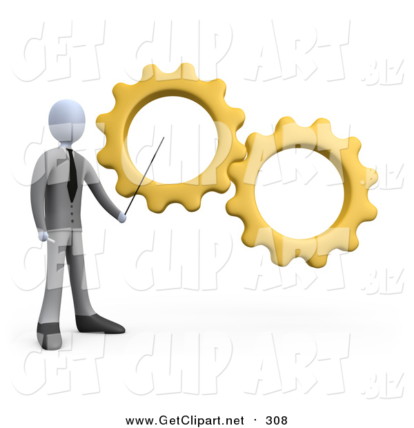 Clip Art of a 3d White Business Man Pointing to Yellow Gears During a Training Course