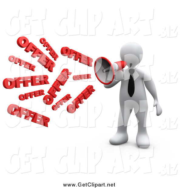Clip Art of a 3d White Business Man Shouting OFFER Through a Megaphone, Symbolizing Job Opportunities and Sales