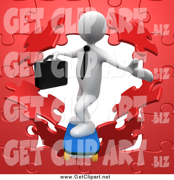 Clip Art of a 3d White Business Man Skateboarding Through a Red Puzzle Wall