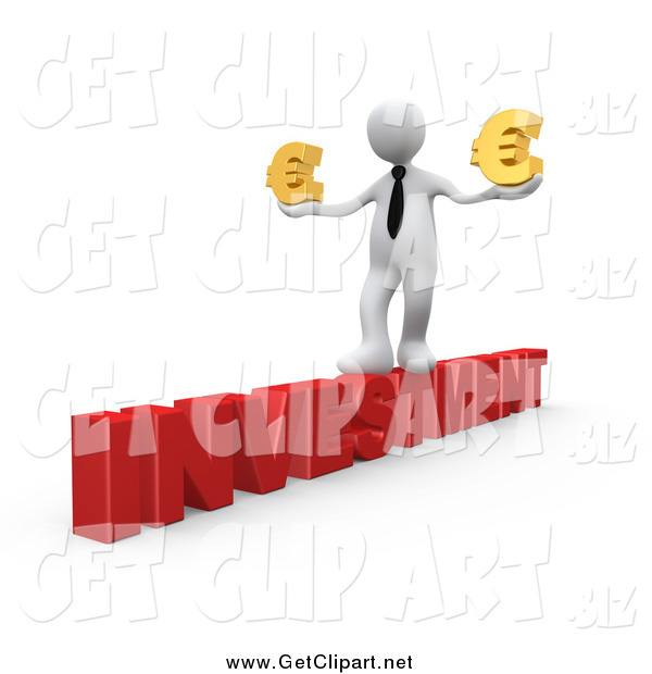 Clip Art of a 3D White Business Man Walking Across the Red Word INVESTMENT and Carrying Two Golden Euro Signs in His Hands