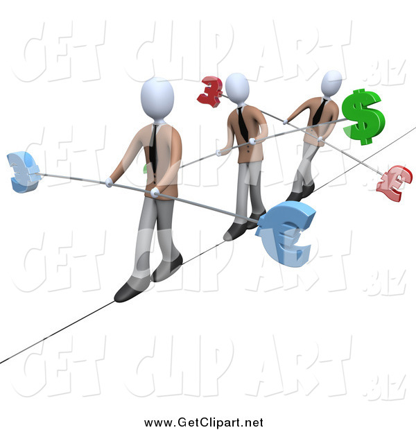 Clip Art of a 3d White Business Men Walking Across a Tightrope with Bars and Euro, Pounds and Dollars at the Ends