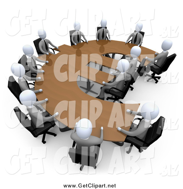 Clip Art of a 3d White Business People in a Meeting at a Wooden Euro Shaped Table