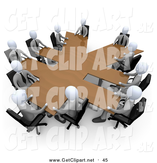 Clip Art of a 3d White Business Team in a Meeting Around a Wooden Yen Shaped Table